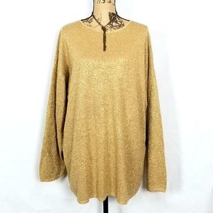 Jaclyn Smith Gold Lame Tunic Sweater